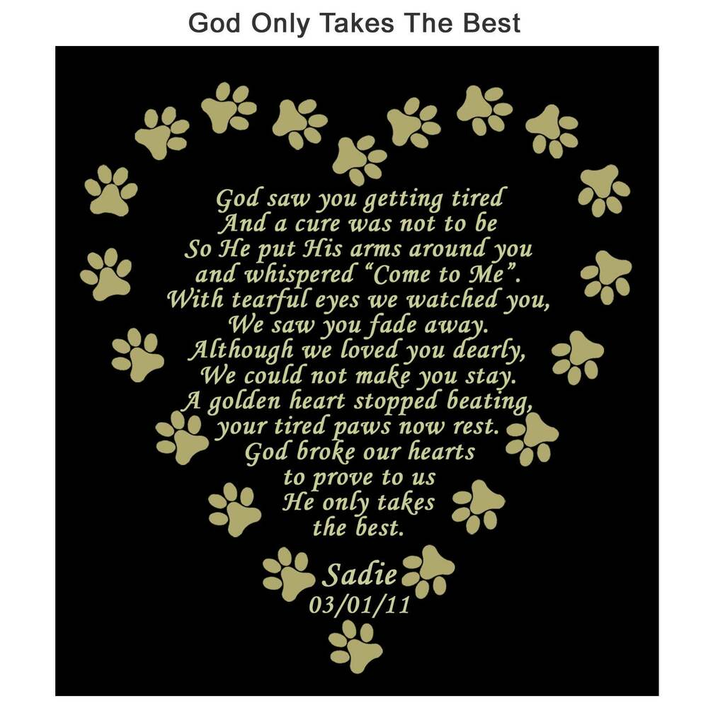 Personalized Pet Memorial Poem Name Plate Multiple Sizes