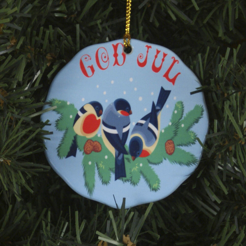 Christmas Tree Sweden: Scandinavian Swedish Christmas Ceramic Ornament God Jul