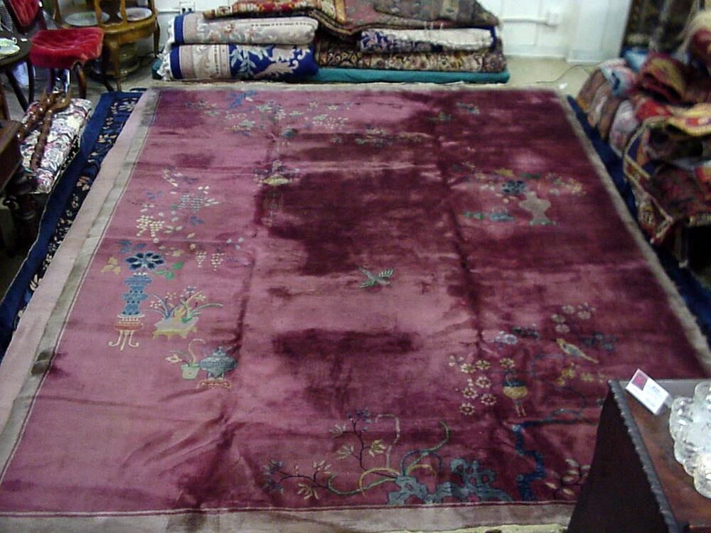 Chinese Art Deco Rug 9x12 Beautiful Burgandy Plum Color