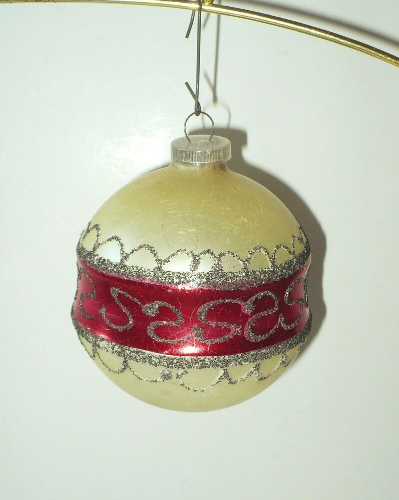 Vintage christmas glass ball with mica tree ornament west Vintage glass christmas tree ornaments