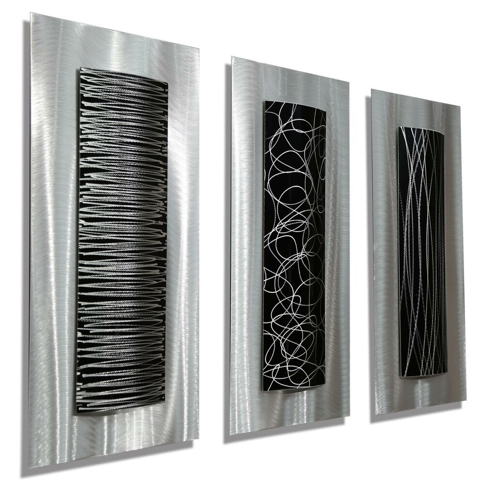 Contemporary Silvers: Modern Abstract Metal Black Silver Wall Art Home Decor