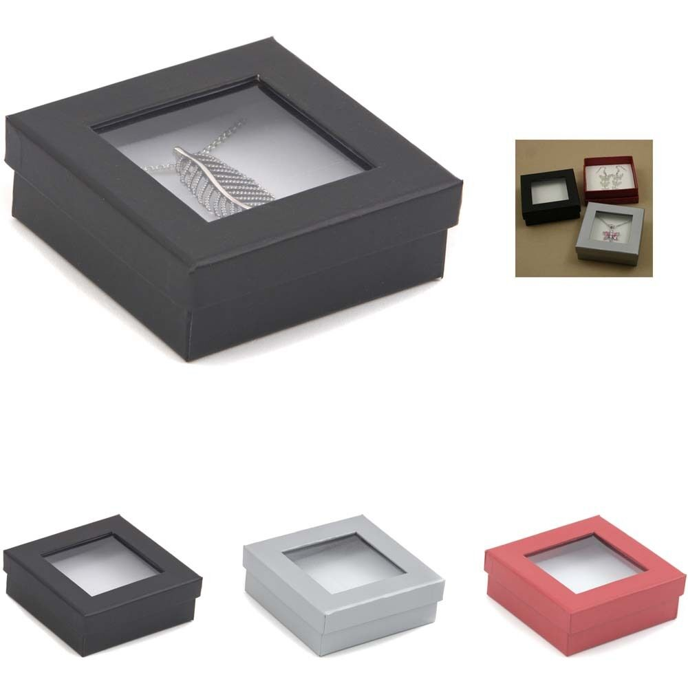 Pendant earrings boxes with display window 8x8x3cm for Wholesale windows