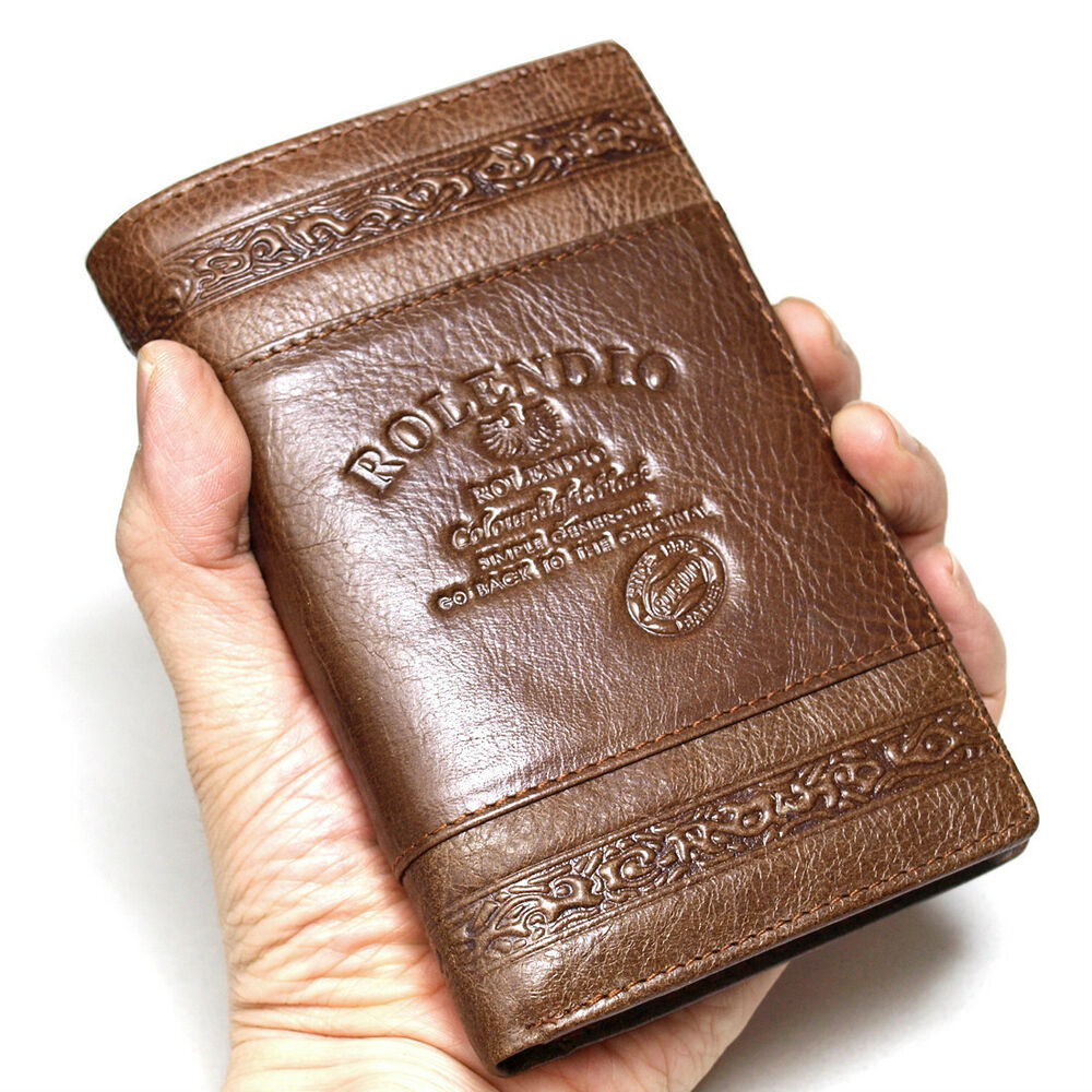 New Brown Leather Trifold Mens Wallet Purse Zippered ...