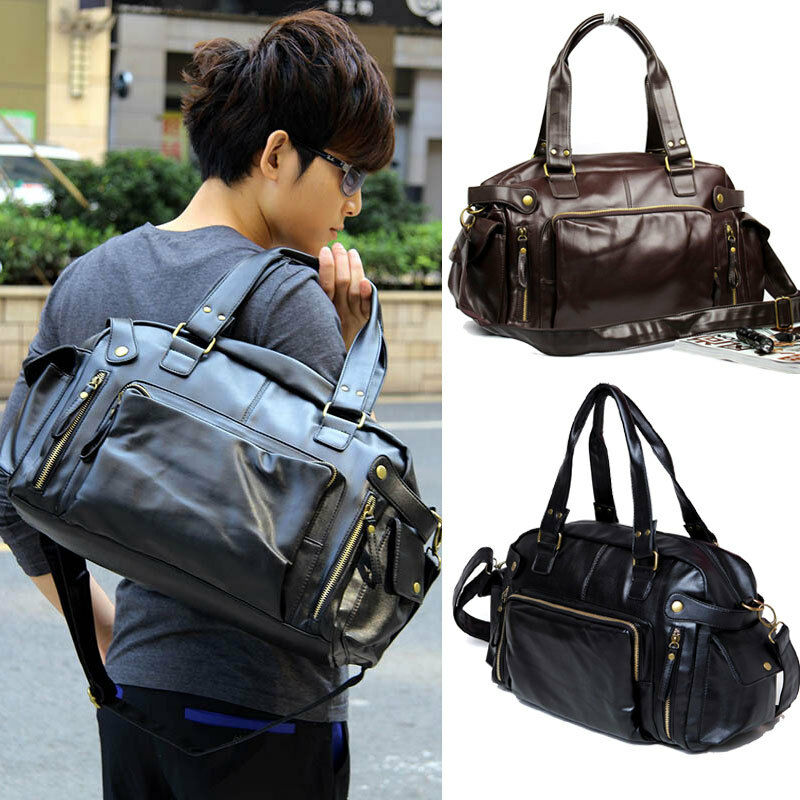 Fashion Men Leather Handbag Gym Duffle Satchel Shoulder ...