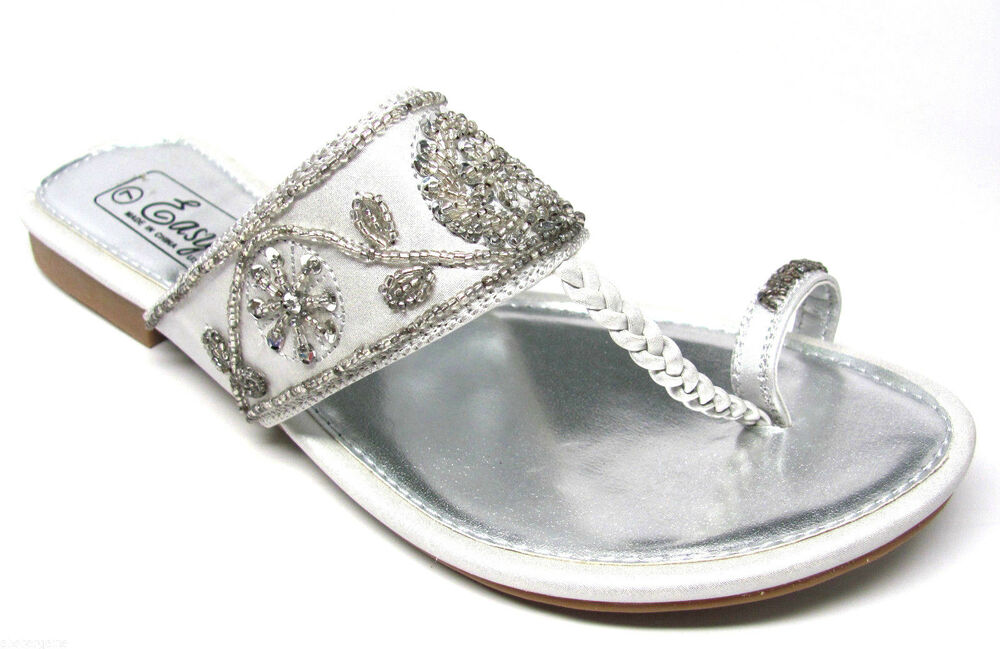 17fdb44c09f32e Details about Silver Beaded Sequined Braided TStrap Toe Ring Bridal Wedding  Sandals Size 5 6 7