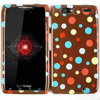For Motorola Droid RAZR MAXX XT913 Faceplate Case Polka Dots On Brown Hard Cover