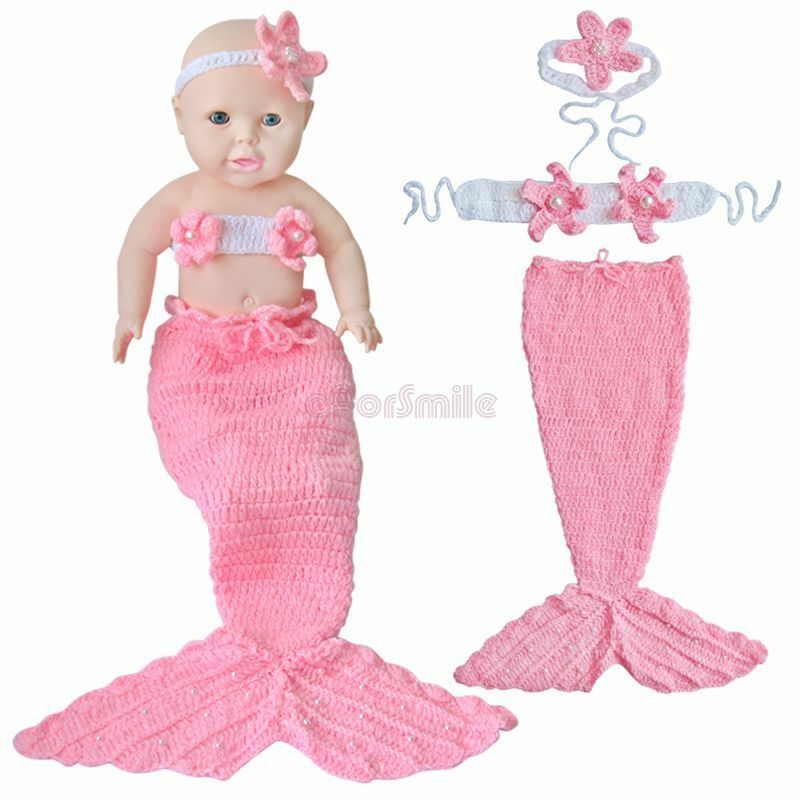 Knitting Pattern For Baby Mermaid Outfit : Little Mermaid Costume Newborn Baby Girls Outfit Crochet Knit Tail Photo Prop...