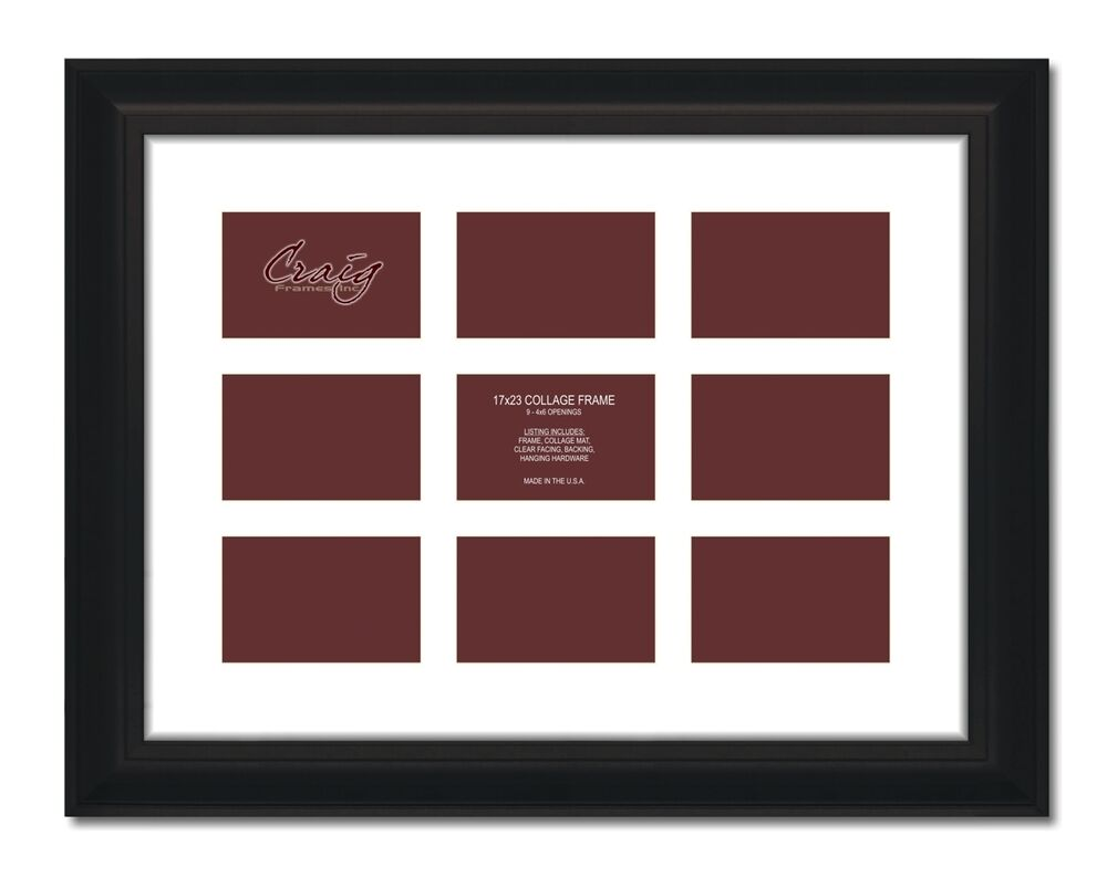Craig Frames 17x23 2u0026quot; Black Picture Frame, White Mat, Openings for 9 ...