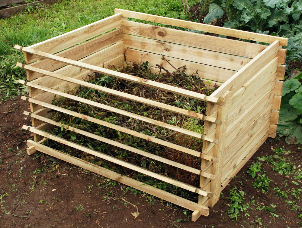 easy load wooden compost bin garden waste composting wood bins organic disposal ebay. Black Bedroom Furniture Sets. Home Design Ideas