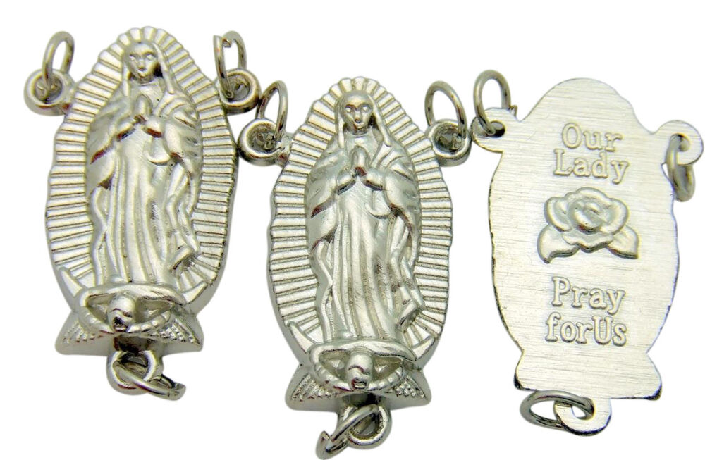 Set of our lady guadalupe silver plated large rosary