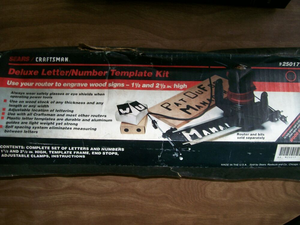 Sears craftsman deluxe letter number template kit for sign for Router lettering template sets