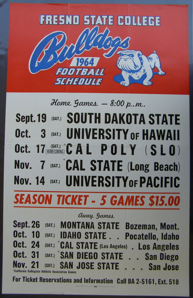 1964 Fresno State College Football Schedule Poster Ebay