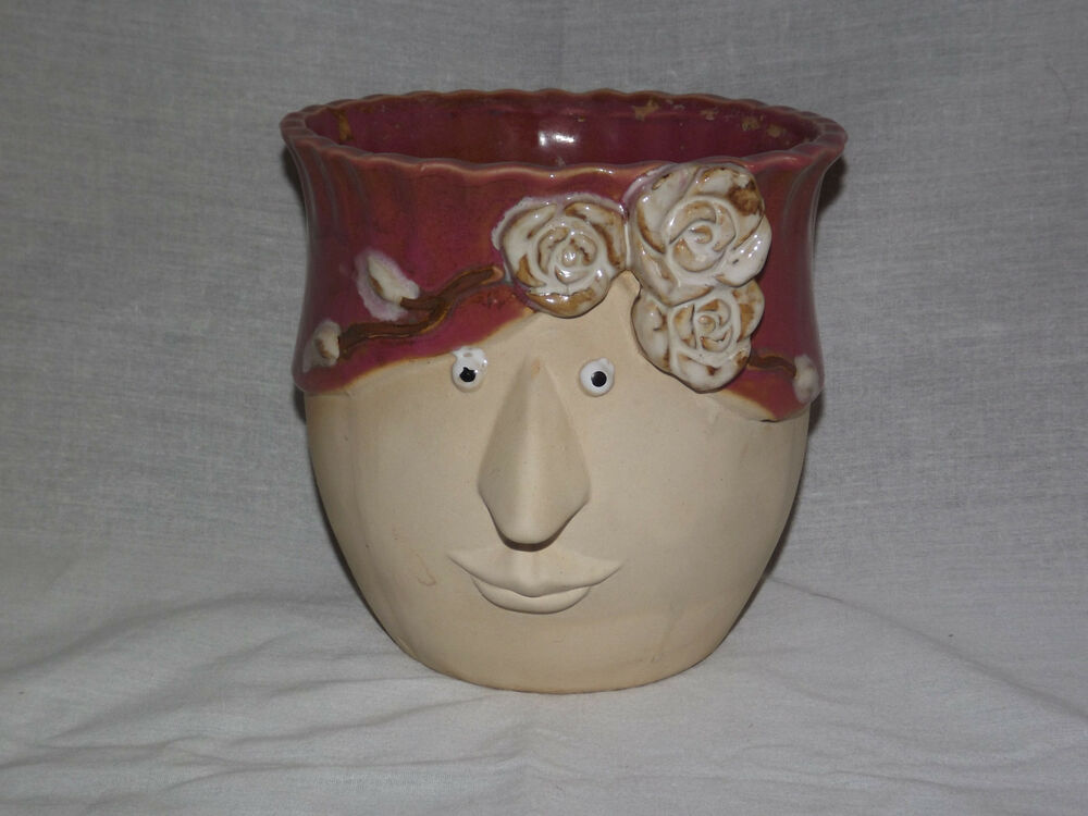 Vintage 6 1 4 High Ceramic Face With Flowers Scalloped
