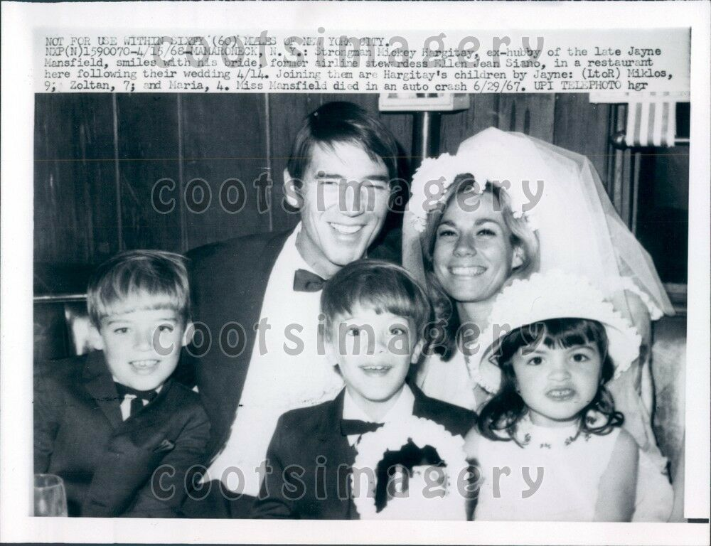 1968 Actor & Mr Universe 1955 Mickey Hargitay With 3rd ...