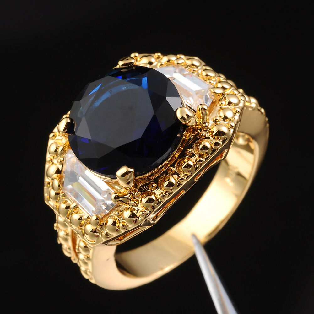 Size 9 10 11 Jewelry Mens Sapphire 10KT Yellow Gold Filled Three Stone Ring