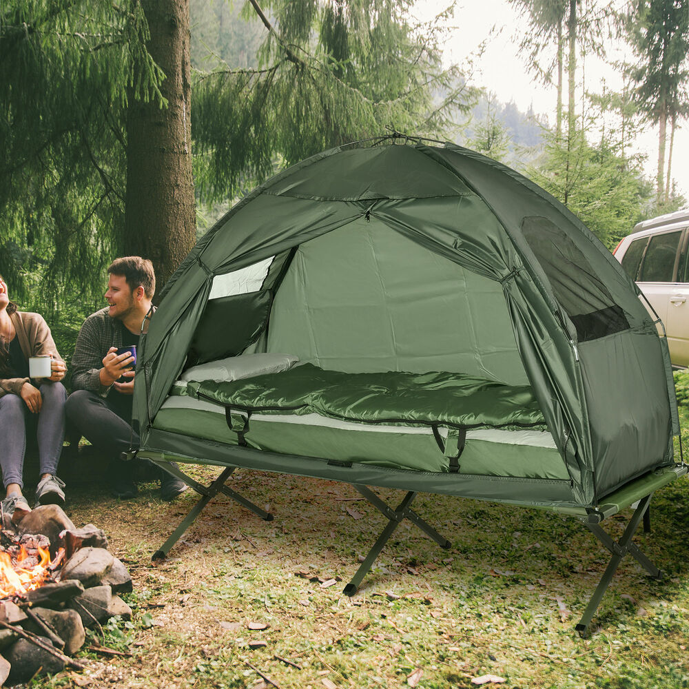 Outdoor 1-person Folding Tent Elevated Camping Cot W/Air