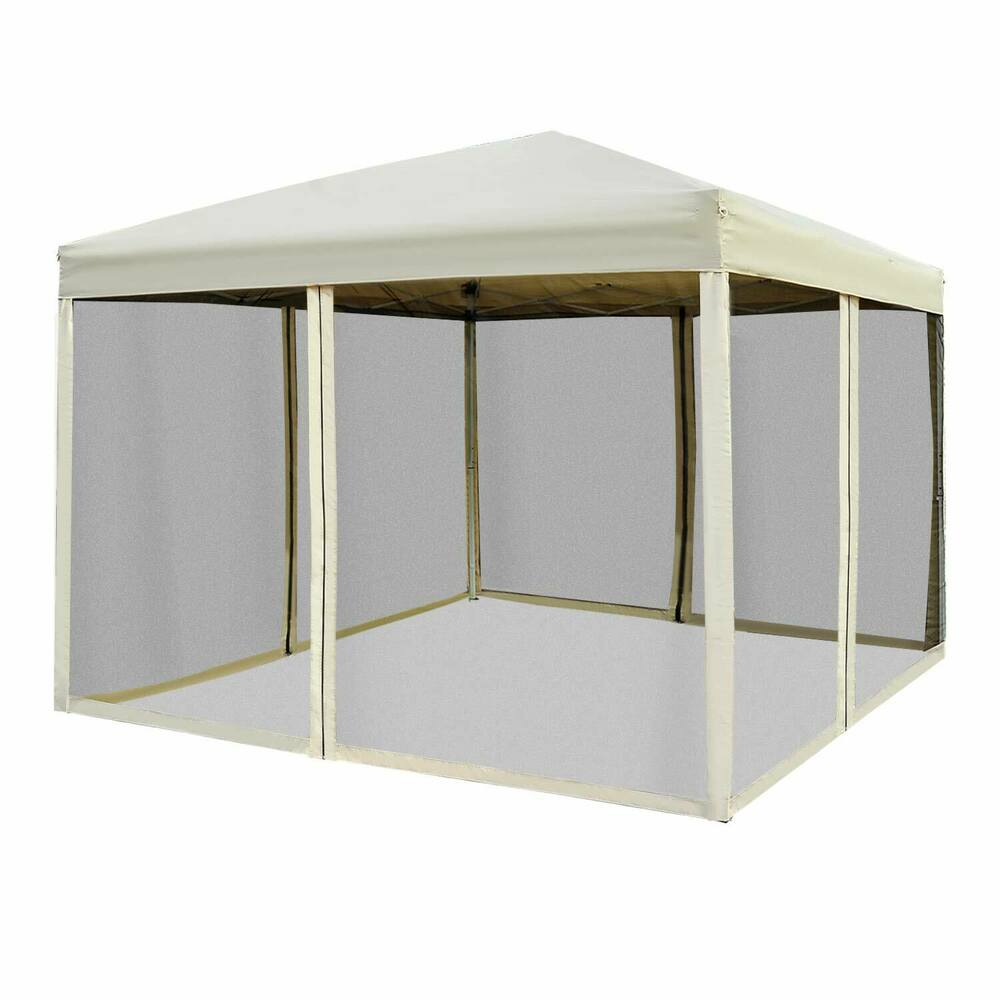 Outdoor Gazebo Canopy 10' x 10' Pop Up Tent Mesh Screen ...