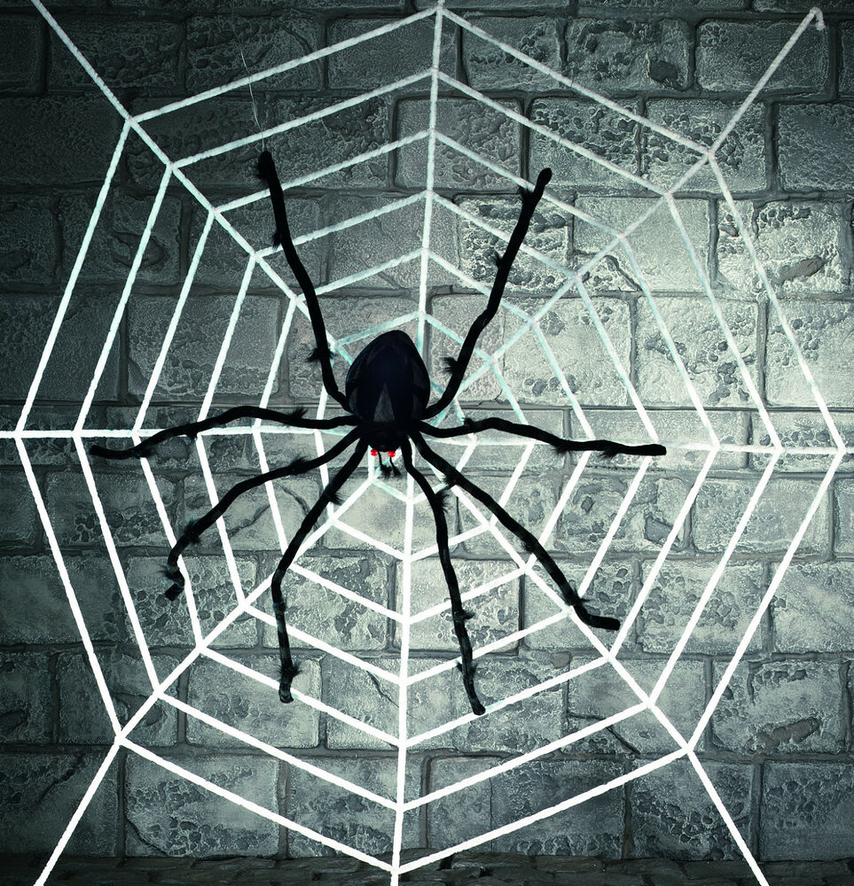 giant deluxe spider with 2m white halloween furry spiders webbing web decoration ebay. Black Bedroom Furniture Sets. Home Design Ideas