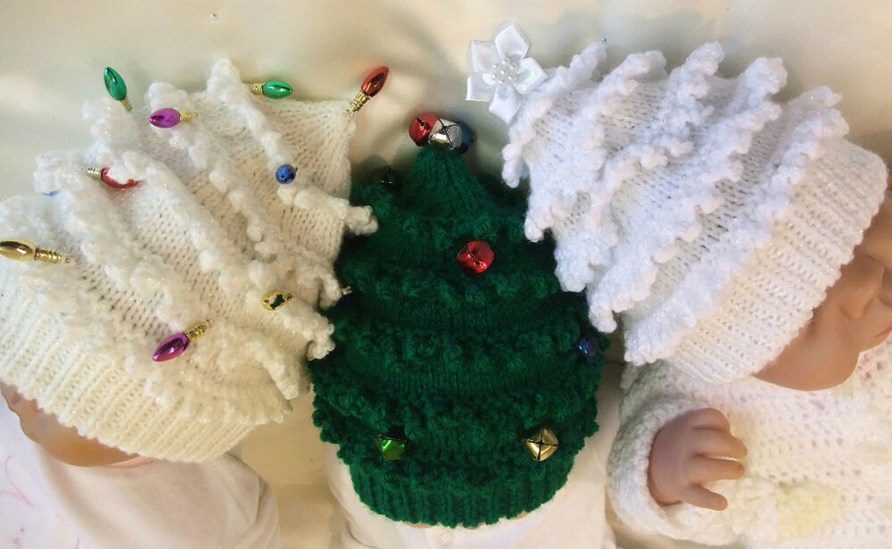 KNITTING PATTERN TO MAKE *CHRISTMAS TREE HATS* IN 9 SIZES SMALL BABY TO ADULT...