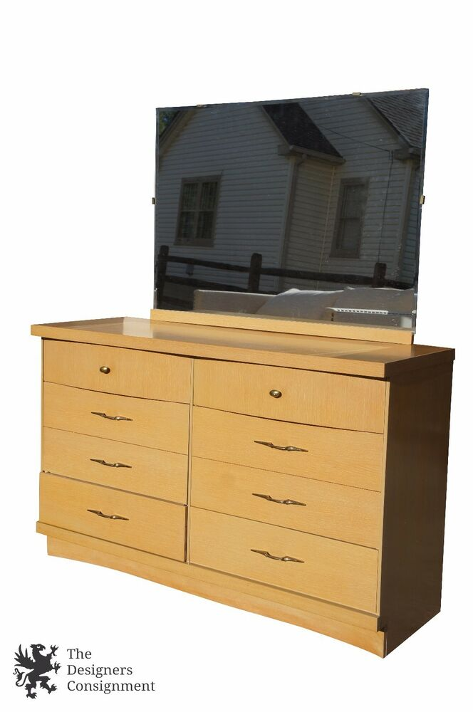 Vintage Bassett Furniture Chest Six Drawers Vanity Dresser With Mirror Bedroom Ebay