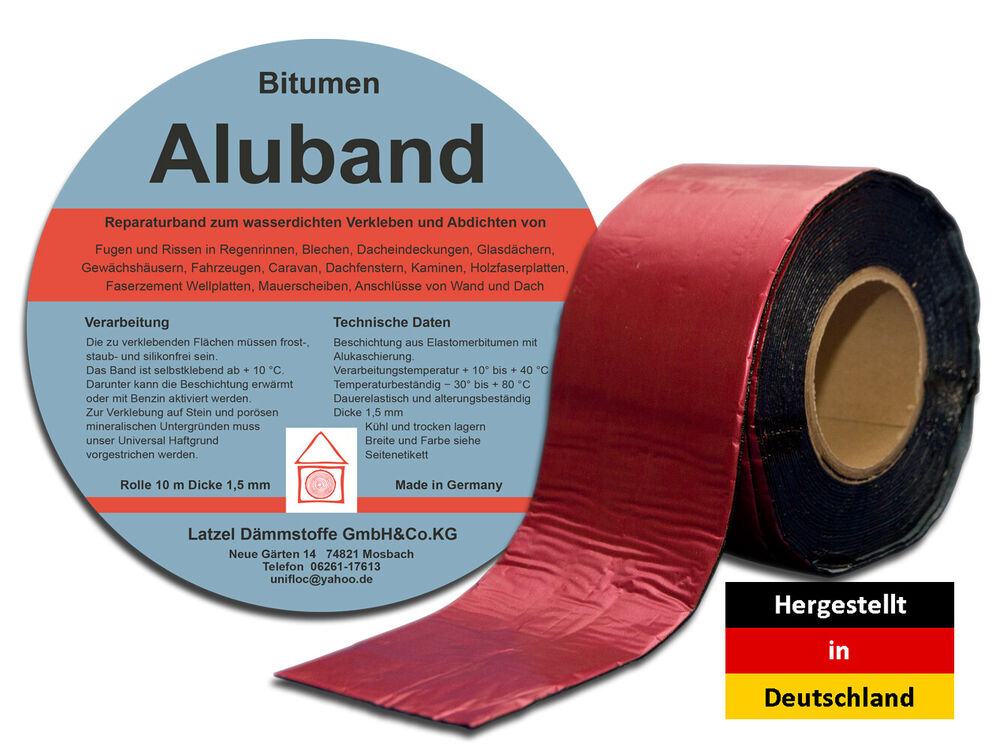 bitumen aluband reparaturband farbe rot 150 mm ebay. Black Bedroom Furniture Sets. Home Design Ideas