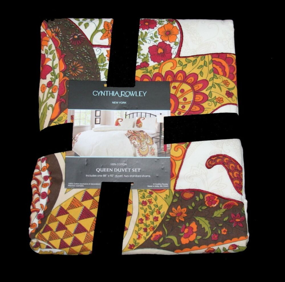 Cynthia Rowley Paisley Toile Floral Bright 3 Pc Queen