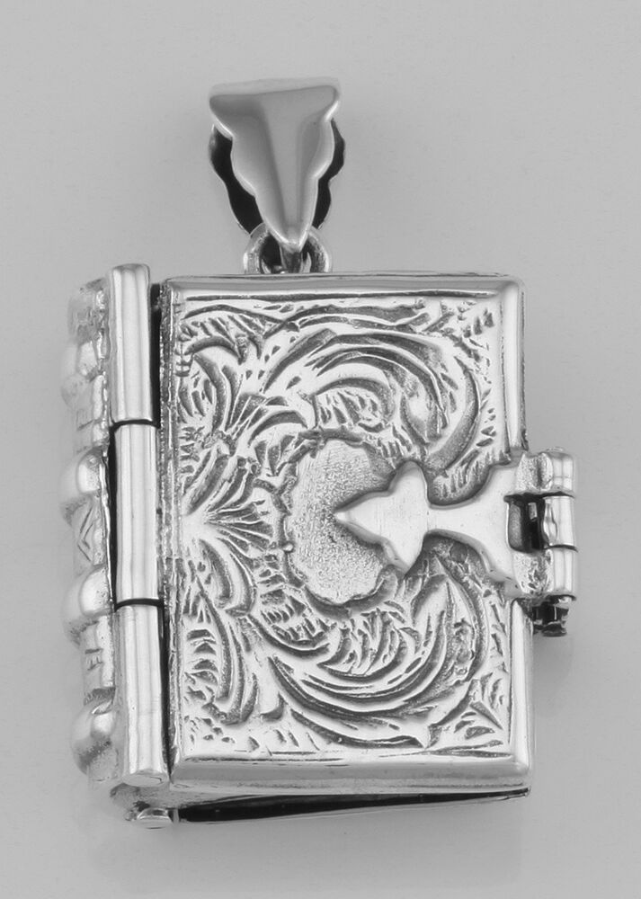 Sterling Silver Antique Style Book Locket Pendant Free