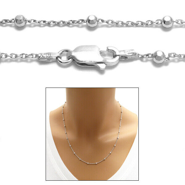 925 sterling silver rhodium faceted bead chain necklace 2