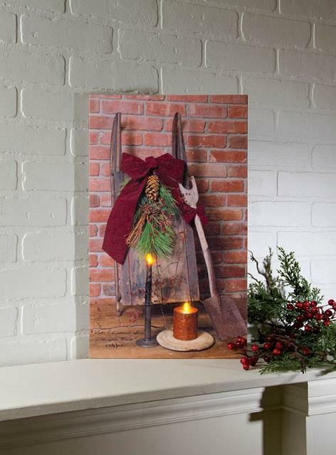 christmas sled radiance lighted canvas 71784 new wall art 20x12 ebay. Black Bedroom Furniture Sets. Home Design Ideas