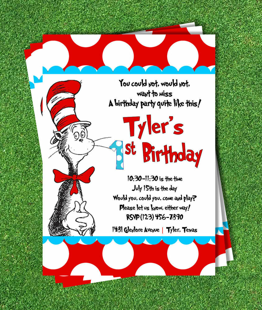 Cat in the Hat Invitation printed 5x7 Customized Birthday Party – Cat Birthday Invitations