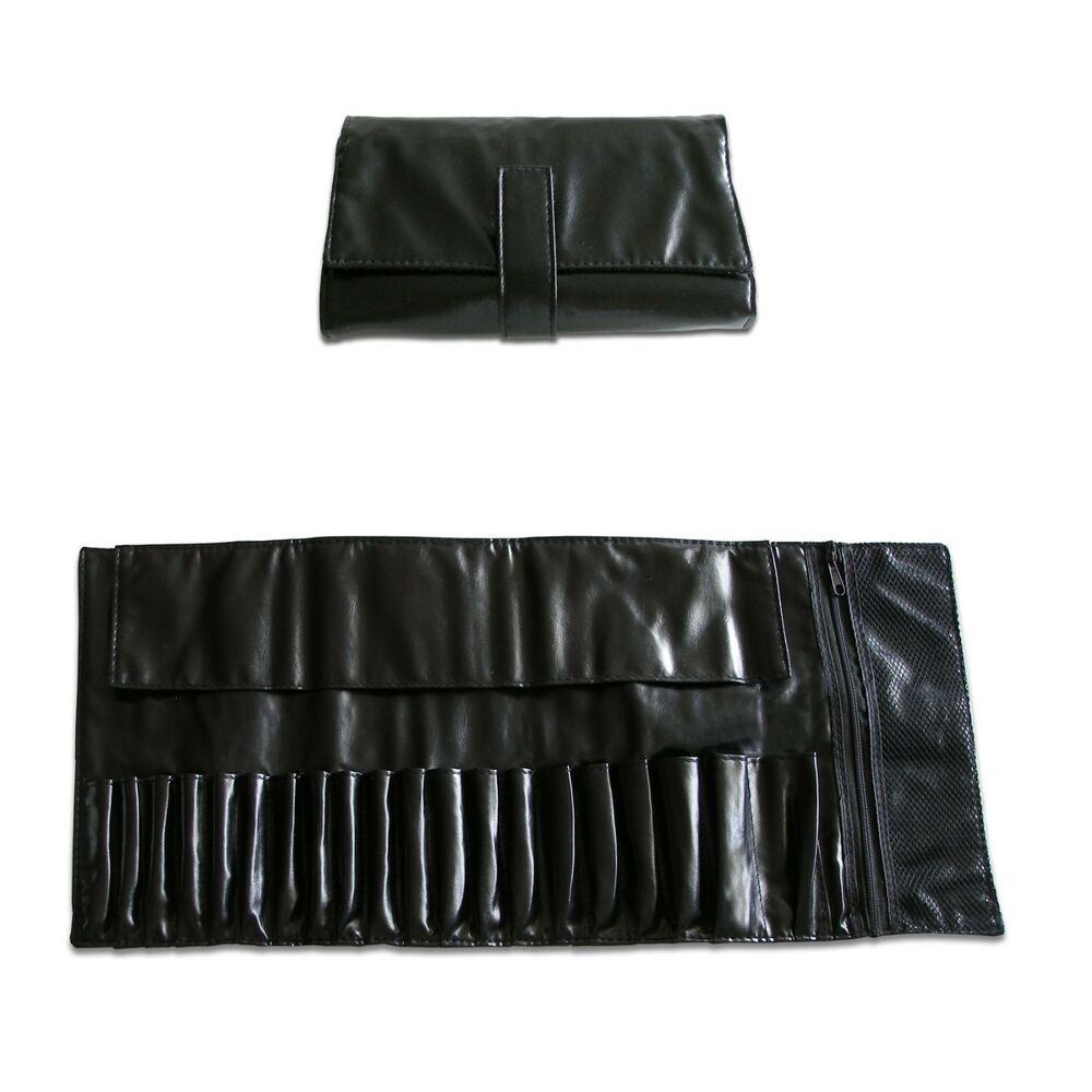a0be1bcf2c Details about 20 Slots Black Faux Leather Cosmetic Brush Makeup Bag Case  Holder Roll Good Gift