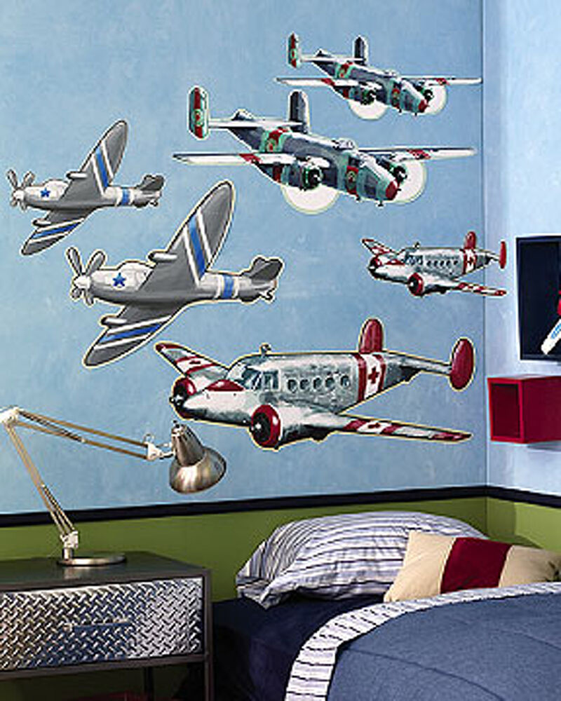 Vintage airplanes 6 lg wall murals decals sticker boys for Airplane decoration