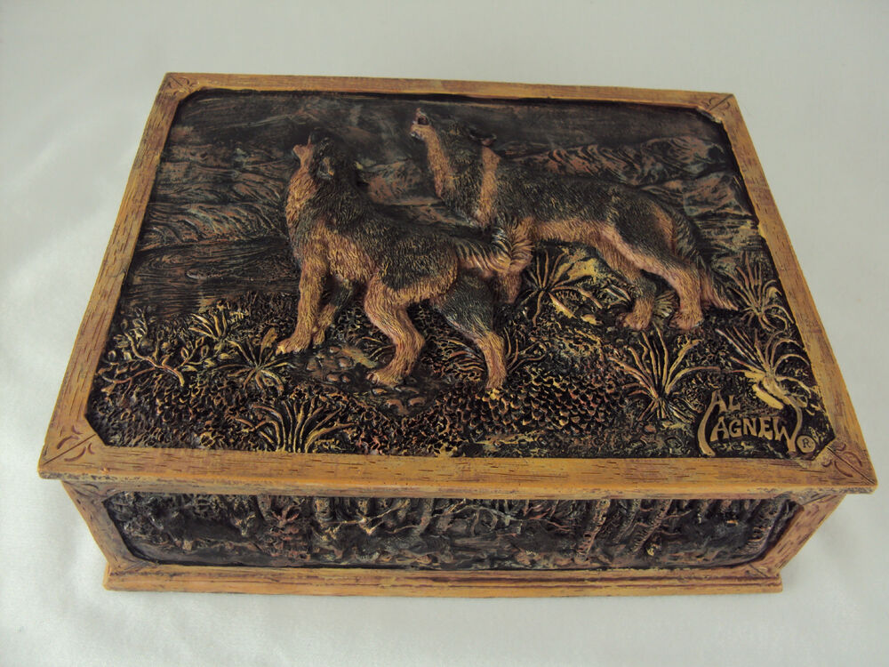 Wolf trinket box by wildlife artist al agnew poly resin for Wolf 1834 jewelry box