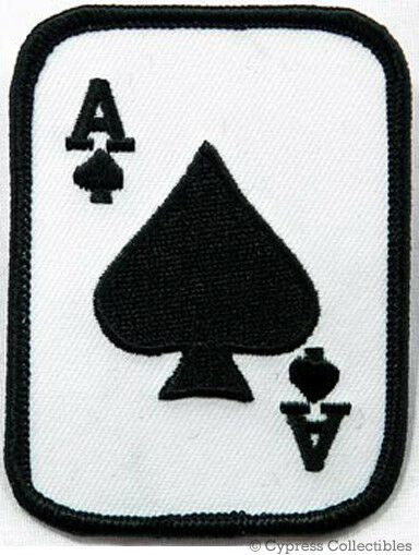 ACE of SPADES iron-on PATCH texas hold 'em POKER PLAYING