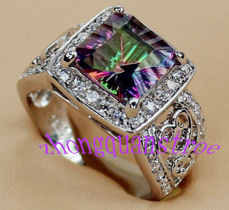 Size 6 10 Princess Cut Mystic Rainbow Topaz Engagement