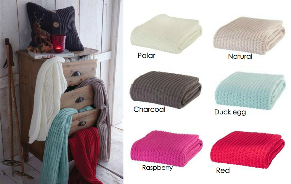 Knitting Patterns For Bed Throws : Luxury Chunky Knit Throw, Cosy Soft Knitted Sofa Bed Blankets Throws eBay