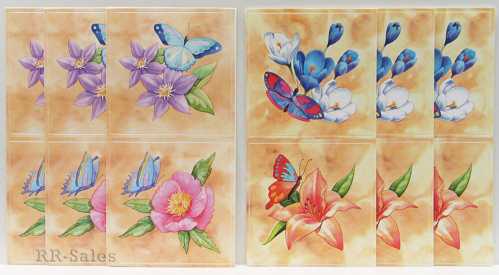 Tile Covers 12 Butterfly Flower Stick Ups Appliques
