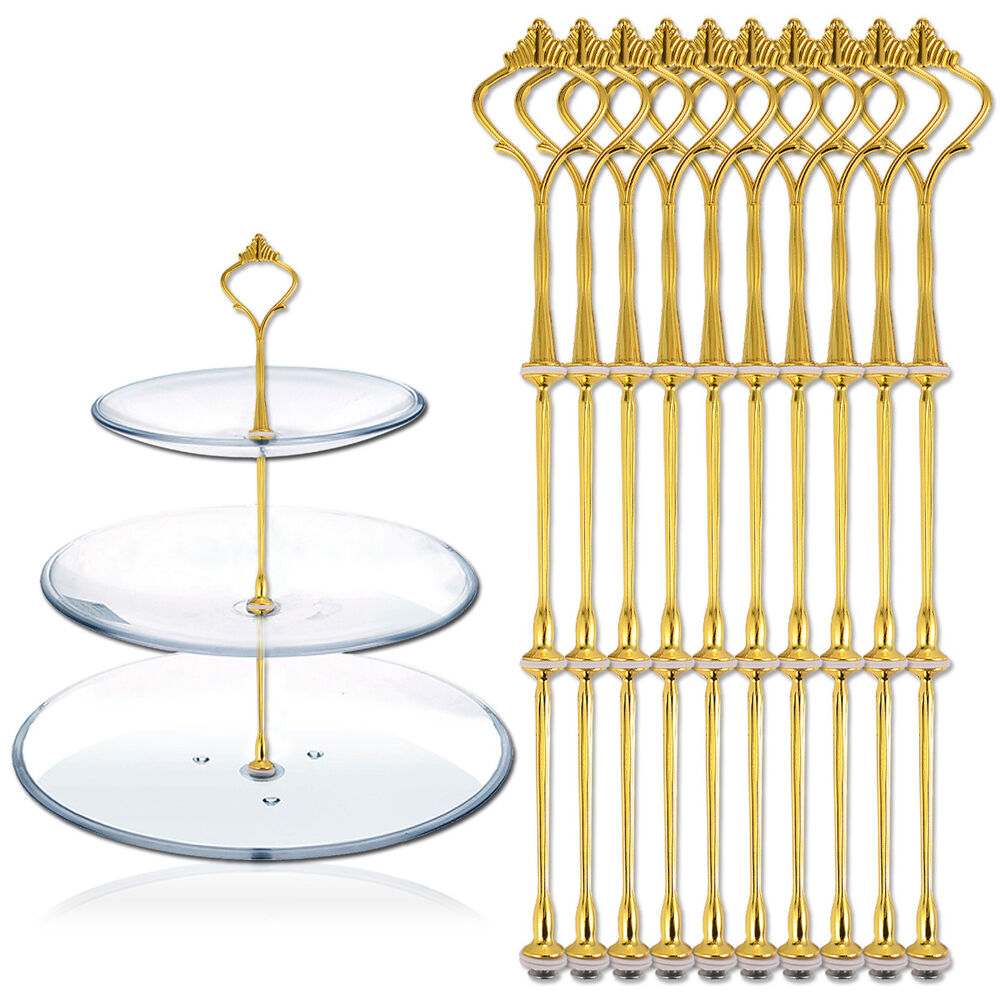 10 Sets 3 Tier Cake Plate Stand Handle Fittings Gold For