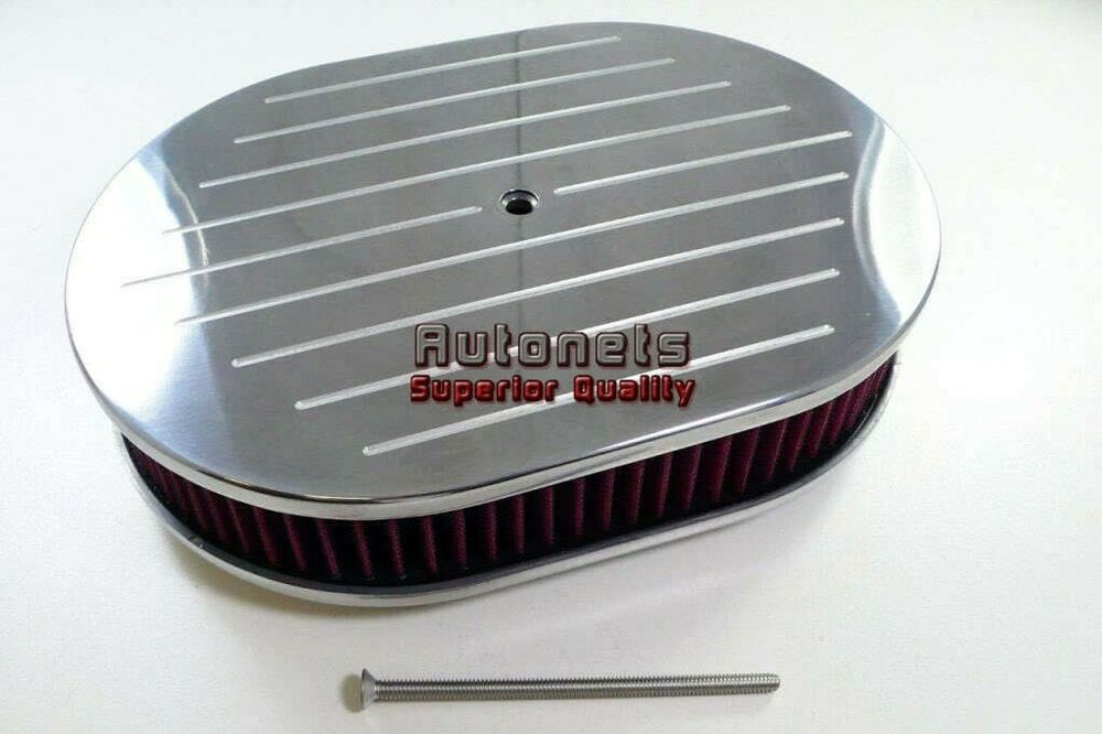 Breather Air Cleaner : Quot aluminum oval air cleaner breather washable chevy ford
