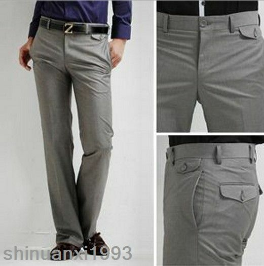 New Menu0026#39;s Slim Fit Casual Formal Straight Dress Suits Pants Smooth Trousers | EBay