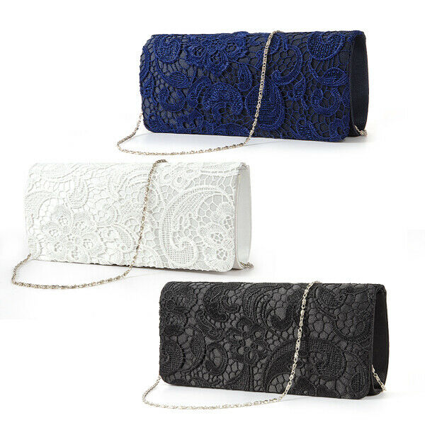 Black White Navy Blue Floral Lace Evening Party Clutch Bag Bridal Wedding Purse | EBay