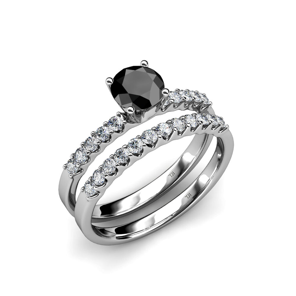 Black and white diamond halo bridal set ring wedding for Halo engagement rings with wedding bands