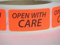 OPEN WITH CARE Warning Stickers Labels red fluorescent 500/rl
