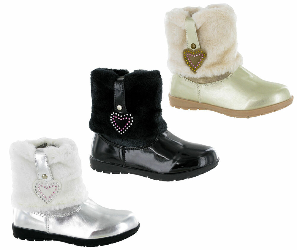 Rsb winter fur snow girls fashion ankle zip up shiny smart boots uk5