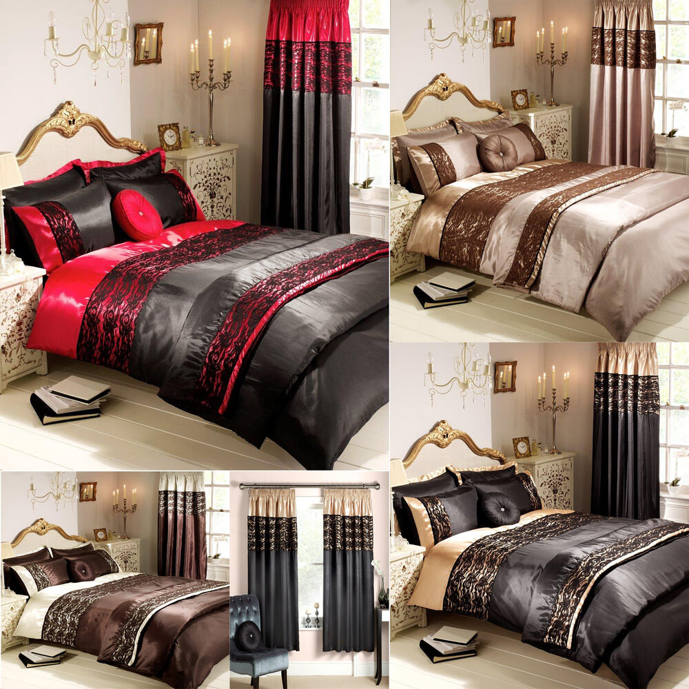 luxury lace boutique duvet cover pillow case bedding set all size or curtains ebay. Black Bedroom Furniture Sets. Home Design Ideas