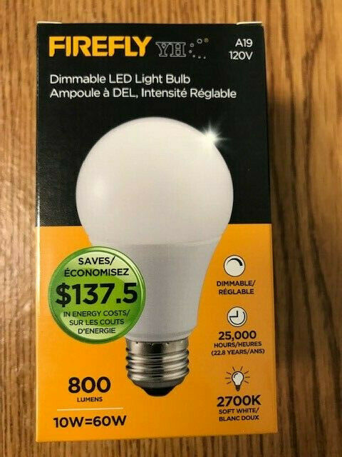 1 Pk Firefly A19 12w Dimmable 60w Led Light Bulb 2700k