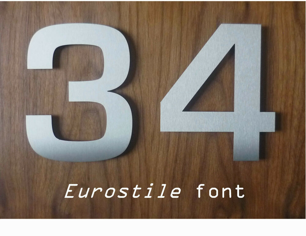 Large brushed stainless steel house numbers numerals for House numbers