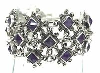 TAXCO MEXICAN STERLING SILVER AMETHYST BEADED BEAD BRACELET MEXICO