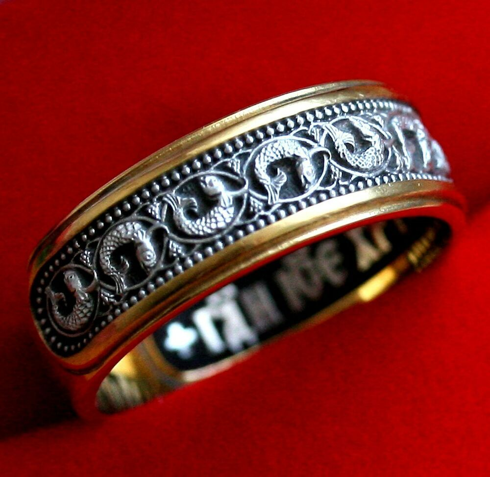 orthodox russian silver gold 999 ring w prayer to jesus