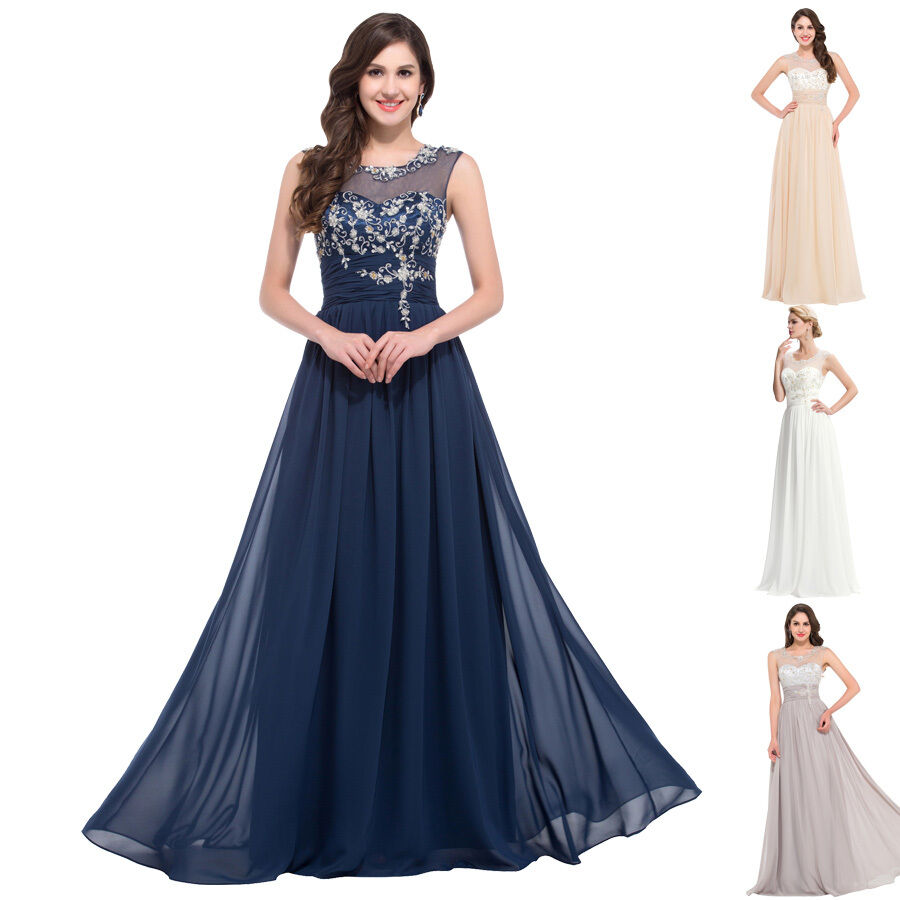 Beaded Evening Formal Bridesmaid Wedding Dresses Long Maxi